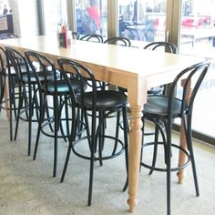 soild timber table or drybar with turned legs tasmanian oak Timber Bar Stools, Timber Table, Dry Bars, Industrial Chic, Simple Elegance, Custom Furniture, Rustic, Legs, Dining Tables