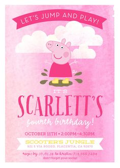 Peppa Pig Birthday Invitation // muddy puddle // by thelilredwagon