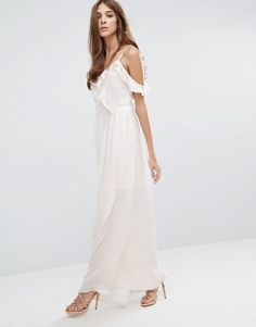 $73 White with uneven hem and off the shoulder