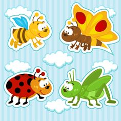 Funny Cartoon Insects vector set 11