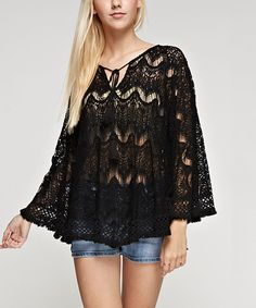 Black Sheer Crochet Tie-Front Cape-Sleeve Top by b-SHARP