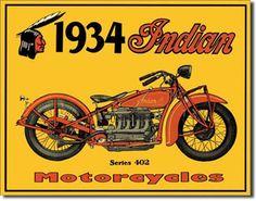 1934 Indian Motorcycles 16 x 12 Nostalgic Metal Sign   Man Cave Kingdom