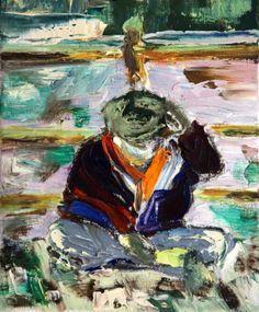 "Saatchi Art Artist: yvonne jones; Oil 2002 Painting ""A Man in St Ives (St Ives series 2-5)"""