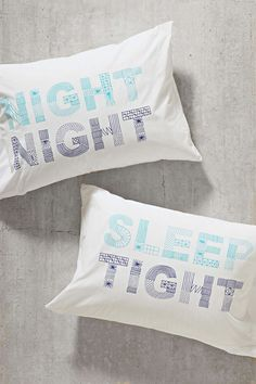 Cute for a shared room, same but different. Night Night Sleep Tight Pillowcase Set - Urban Outfitters