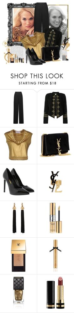 """""""Inside Your Heaven"""" by spells-and-skulls ❤ liked on Polyvore featuring Oris, Roberto Cavalli, Yves Saint Laurent, Fanfreluches, Victoria's Secret, Gucci, blackandgold, gucci, yvessaintlaurent and Victoriasecret"""