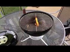 How to Season a Grill - Weber Smokey Joe Silver.  This is how to season a charcoal grill.  Seasoning a grill is important because it helps to remove any unnatural flavors before grilling on it the first time.  Please share this video and enjoy Chef IrixGuy's other grilling videos too!