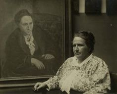 Pablo Picasso was one of Gertrude Stein's favorite artists and social contacts in Paris.Gertrude Stein is shown sitting in front of a portrait of her painted by Picasso. The photo was taken by Man Ray in Man Ray, Pablo Picasso, Georges Braque, Women In History, Art History, Gottfried Helnwein, Writers And Poets, Art Moderne, Female Portrait