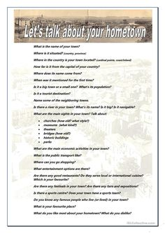 This is a speaking activity I made for a conversation class. I tried to covered as many topics as possible. Let Them Talk, Talk To Me, Let It Be, Rodeo Shirts, My Town, First Time, Conversation, Names, Teaching