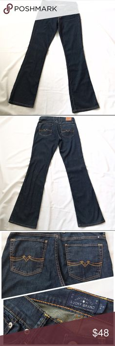 Lucky Brand Dark Denim Sweet n' Low Jeans 27 4 These jeans are in excellent condition. The inseam is 33 inches and it has a 9 inch rise. The material is super soft and comfortable and goes with anything! Lucky Brand Jeans Boot Cut