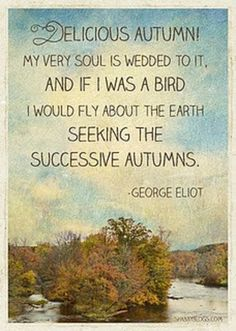 autumn and the poetic voice of george eliot - I would have to add: my very name is in honor of it ;) (Makes me think of my mom, who loves fall) Autumn Day, Autumn Leaves, Autumn Poem, Autumn Harvest, Autumnal Equinox, Hello Autumn, Autumn House, Autumn Girl, Autumn Morning