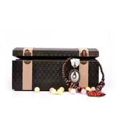 Dark Brown Embossed Jewellery Case ACJC2012A001