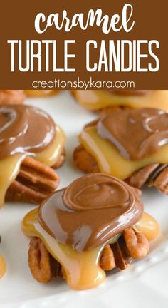 Homemade Turtle Candy is easier than you think! Everyone loves these caramel pecan turtles! #pecanturtles #caramelturtles #homemadeturtles #candyrecipe #turtlecandy -from creationsbykara.com