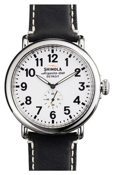 Shinola 'The Runwell' Leather Strap Watch, 47mm available at #Nordstrom