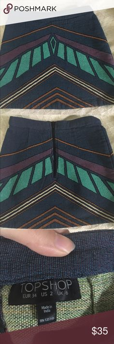 Topshop chevron print skirt pretty little liars Excellent condition topshop chevron print skirt size 2. It is the same skirt seen on Lucy Hale, Aria Montgomery, on pretty little liars. Sturdy, beautiful fabric. Cute in many seasons depending on how you style it. Topshop Skirts