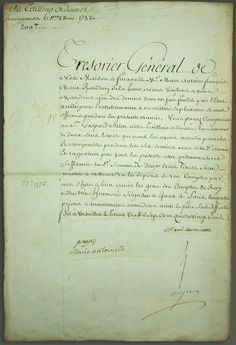 """Document signed by Marie at Versailles in1783. It begins with a request for payment for the billeting of officers. The second part of the document is of note because it orders payment to """"our tailor ordinaire."""" This was an important time in the history of the queen's prestige, since her extravagant expenses on her wardrobe created a great scandal in France. Her expenditures on gowns, many by the famed designer Rose Bertin, led to her being villified by the lower classes throughout France."""