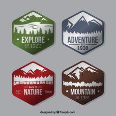 Cztery sześciokątne odznaki o przygodzie w lesie Darmowych Wektorów