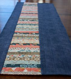 Modern Quilted Table Runner - Fall Runner - Thanksgiving Table Runner - Patchwork Table Topper - Orange, Yellow, Navy -Basic Grey Persimmon
