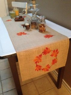 "Burlap Table Runner 12"", 14"" or 15"" wide with a leaf border & leaves scattered throughout - Holiday decorating Fall runner Thanksgiving by CreativePlaces on Etsy"