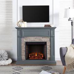 Media Fireplace, Grey Fireplace, Fireplace Mantels, Fireplaces, Fireplace Ideas, Mantel Ideas, Fireplace Screens, Fireplace Surrounds, Electric Fireplace Media Center