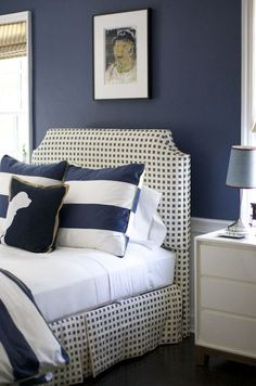 navy blue and white so crisp and handsome.