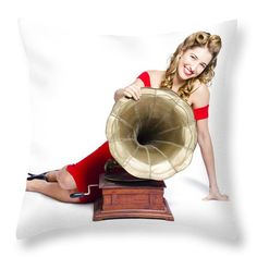 Music Throw Pillow featuring the photograph Beautiful Pinup Woman Listening To Old Gramophone by Jorgo Photography - Wall Art Gallery
