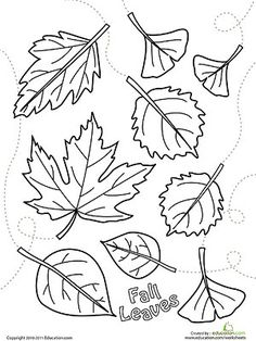Printable Fall Coloring Pages: Falling Leaves (via Parents.com)