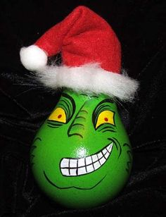 Grinch Ornament from a lightbulb.