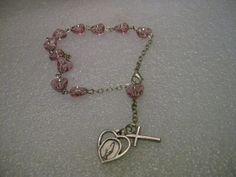 "Vintage Silver Tone Rosary Bracelet, Pink Heart Beads, Filigree Accent - 7-8"" #Unsigned #linkedbraceletRosarysingledecade"