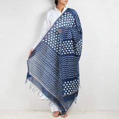 Block Printed Weave & Triangle Indigo Chanderi Dupatta With Sindhi Embroidery