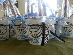 Cute cups filled with goodies for volleyball team slumber party! Great for team bonding! Volleyball Snacks, Volleyball Cakes, Volleyball Shirts, Volleyball Quotes, Coaching Volleyball, Beach Volleyball, Volleyball Ideas, Volleyball Senior Gifts, Volleyball Hair