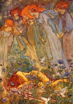 "Emma Florence Harrison- illustration for Christina Rosetti's poem ""Dream Love"""