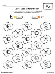 Letter Case Recognition Worksheet: Letter E Worksheet.This fun and coloring activity helps preschoolers and kindergarteners recognize the difference between the uppercase and lowercase E. Letter E Activities, Letter Worksheets For Preschool, Handwriting Worksheets, Preschool Letters, Alphabet Worksheets, Kindergarten Worksheets, Alphabet Activities, Printable Worksheets, Letter Case