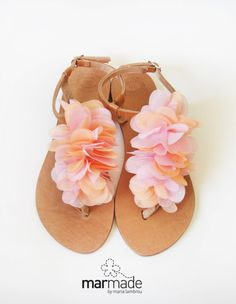 Bridal sandals - Handmade Leather wedding sandals with Coral Pink textile decoration by Marmade Bridal Sandals, Bridal Shoes, Wedding Shoes, Cute Sandals, Cute Shoes, Me Too Shoes, Coral Sandals, Flat Sandals, Sock Shoes