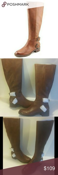 """🆕Kenneth Cole Cognac Leather Riding Boots These cognac-colored genuine leather boots are fashion-forward and comfy. Side Zip closure. Approximate measurements: 1.5"""" heel,  15"""" circumference, 17"""" shaft. According to the manufacturer, the fit runs true to size. Kenneth Cole Reaction Shoes Heeled Boots"""