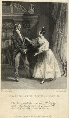This is one of the first two published illustrations of Pride and Prejudice. Look at the size of those books!