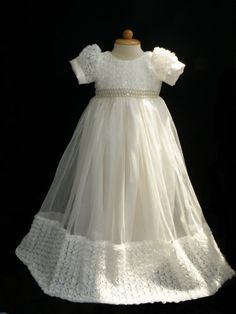 Off White Rosette Christening Gown Baptism Gown