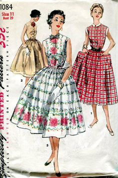 Sewing Patterns,Vintage,Out of Print,Retro,Vogue Simplicity McCall's,Over 7000 - Simplicity 1084 Retro 1950's Shirtwaist Dress 29