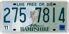 This is the official license plate for the state of New Hampshire as it has been officially adopted by the state legislature. Also known as a vehicle registration plate, it is used to identify the car and owner of a motor vehicle or trailer in the state. Licence Plates, Car License Plates, License Plate Art, Auto Body Repair Shops, Vehicle Registration Plate, State Mottos, Live Free Or Die, Vanity Plate, Travel Memories