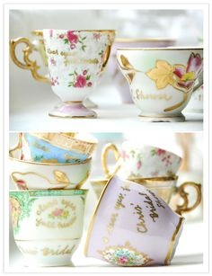 Personalized (handwritten notes in gold pen) vintage tea cups for your bridesmaids, with diy tea bags, of course.