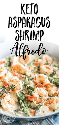 Keto Creamy Asparagus and Shrimp Alfredo {Gluten-Free & Prim. - Keto Creamy Asparagus and Shrimp Alfredo {Gluten-Free & Primal} Shrimp and asparagus swimming in a - Shrimp Alfredo Recipe, Keto Shrimp Recipes, Healthy Diet Recipes, Ketogenic Recipes, Healthy Fats, Keto Snacks, Lunch Recipes, Keto Alfredo Sauce, Easy Keto Recipes