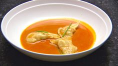 Crab and Prawn Wontons in a Seafood Bisque