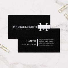 Monogram Plain Black Modern Magnolia Business Card - consultant business job profession diy customize