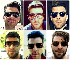 Zachary can never has too many glasses! Nos4a2, Zachary Quinto, Chris Pine, American Actors, Star Trek, Sexy Men, Gentleman, Mens Sunglasses, Hair Beauty