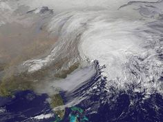 A National Oceanic and Atmospheric Administration map shows a major snowstorm over the northeastern United States.  NOAA via AFP/Getty Images
