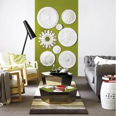 What a great use of ceiling medallions, spray paint to the color you want :) how cool!!