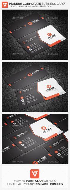 Creative & Modern Corporate Business Card Template - #Corporate #Business #Cards Download here: https://graphicriver.net/item/creative-modern-corporate-business-card-template/19522978?ref=alena994
