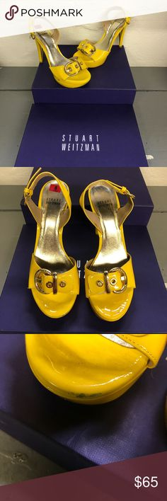Stuart Weitzman yellow gold buckle patent sandal How gorgeous and unique are these?? Worn a handful of times they do have some scuffing and marks but otherwise are in very good used condition. So unique and rare to find color! Super comfy. Box is for prop only it is not included Stuart Weitzman Shoes Sandals