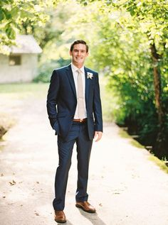 Summer Garden Wedding in Knoxville Tennessee - Garden Wedding Casual Wedding Suit, Navy Tux Wedding, Casual Groom Attire, Casual Grooms, Groom And Groomsmen Attire, Wedding Groom, Groom Suits, Blue Suit Groom, Wedding Suits For Men