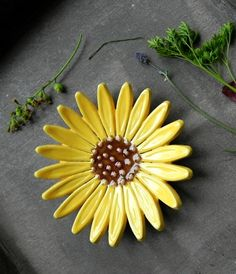 Sunflower Ceramic Dish Pottery Jewelry Plate Summer Home Decoration Yellow with…