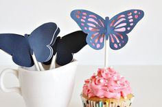 Cupcake Toppers Set of 6 Butterfly Birthday Wedding Decor by Unify, $4.50